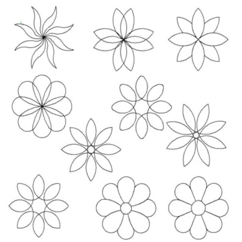 8 Petal and Loop Flowers-L01752*