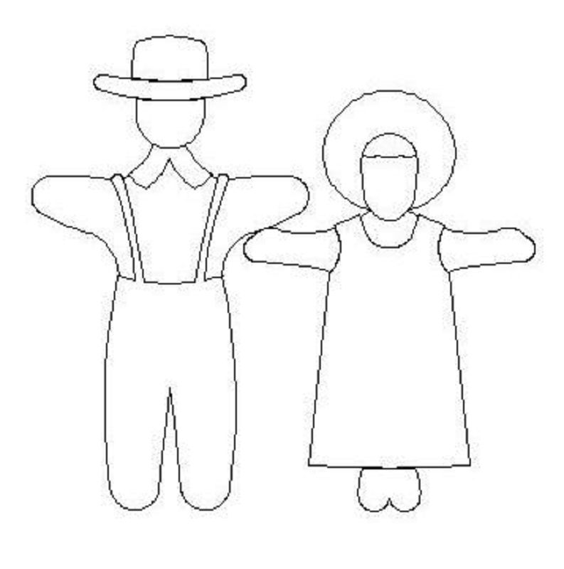 Amish Boy and Girls dolls-L00968