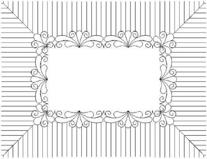 Feather Fantasy Narrow Scalloped Border & Corner with Half Inch Piano Keys-L02530*