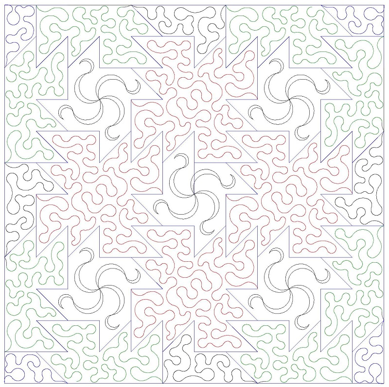 Picket Fence Pinwheel and Stipple-L00569