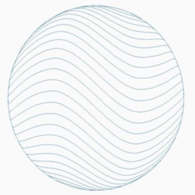 Sphere_Crosshatch Wave Horizontal Lines with Outside Circle 00019dc *